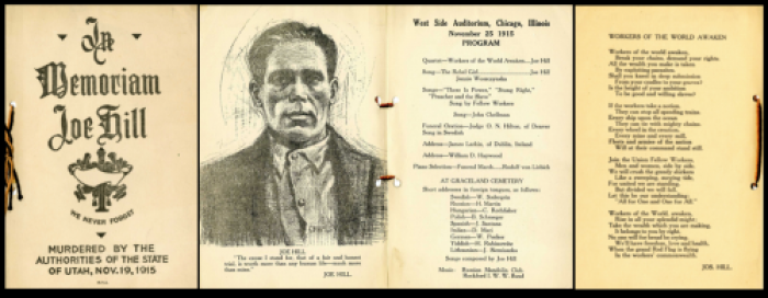Joe Hill Funeral Program pages 1-4, Chicago Nov 25, 1915.png