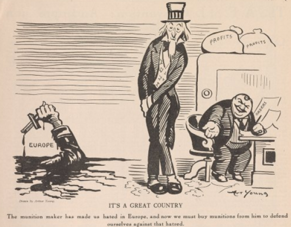 The Masses, The munition maker and Uncle Sam by Art Young, Feb 1916.png