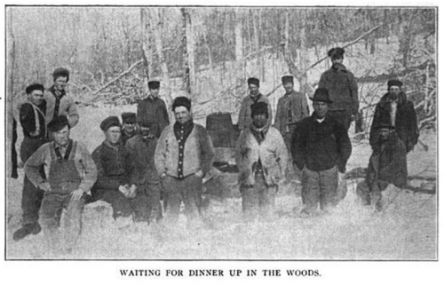 Lumber Workers, Waiting for Dinner Up In The Woods, ISR Jan 1916.png